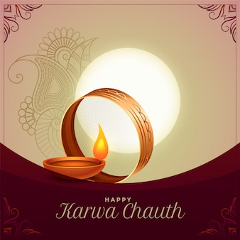 Karwa chauth festival ceremony greeting background design
