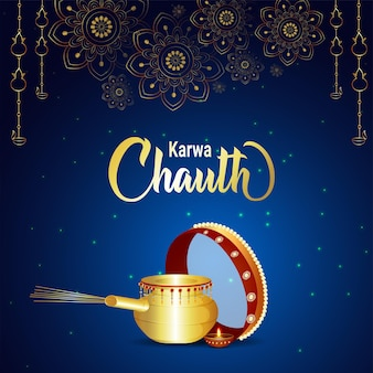 Фон празднования индийского фестиваля карва чаут