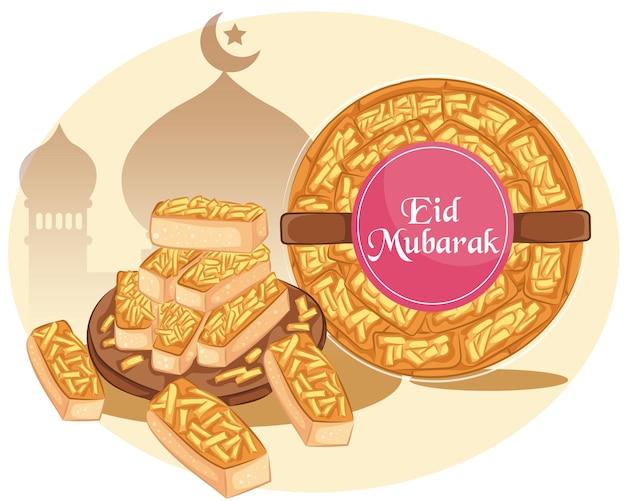 Кастангель - это выпечка, которую подают на праздник ид. печенье kaasstengels на фоне мечети.