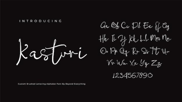 Kasturi 서명 글꼴 스크립트 브러시 알파벳