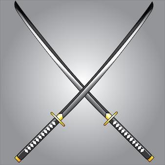 Katana blade isolated on gray background
