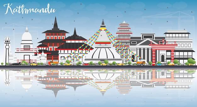 Kathmandu skyline with gray buildings blue sky and reflections
