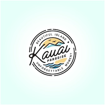 Kauai hawaii beach stamp logo