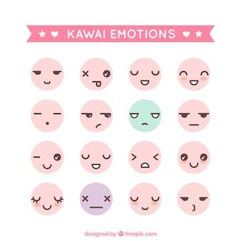 Kawai emoticons Premium Vector