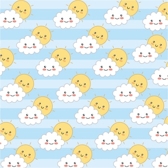 Kawaii adorables sun and clouds happy pattern