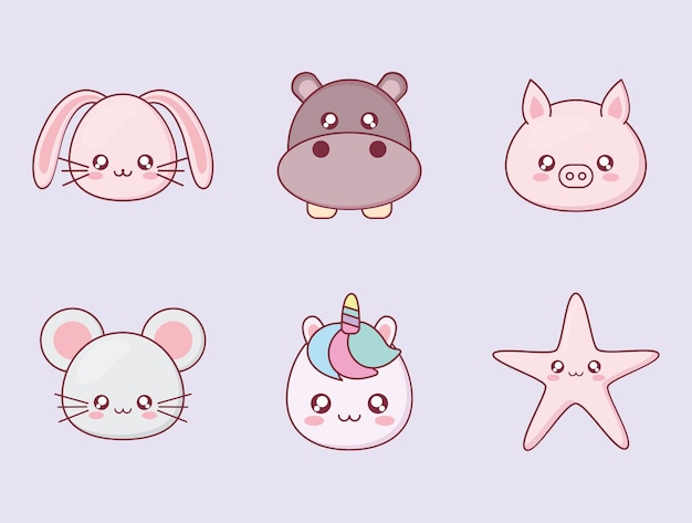 Kawaii animal cartoon icon set design, expression cute character funny and emoticon theme