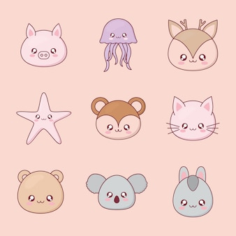 Каваи мультфильм животных набор иконок дизайн, выражение милый персонаж смешно и тема смайлика