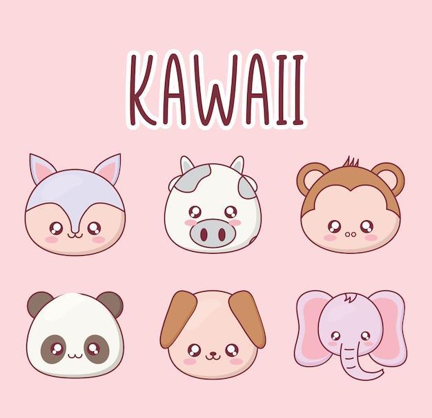 귀여운 동물 만화 아이콘 디자인, 표현 귀여운 캐릭터 재미 있고 이모티콘 테마 세트