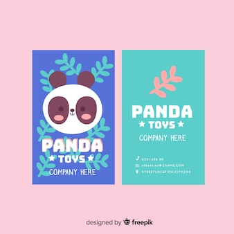 Kawaii animal character business card template