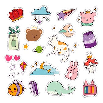 Kawaii 동물 스티커 세트 패션 패치 컬렉션