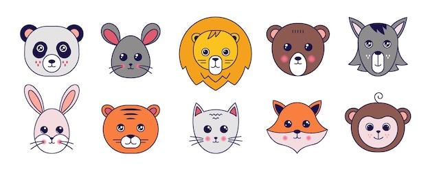 귀여운 동물들. 귀여운 낙서 고양이 호랑이 팬더 마우스와 재미있는 이모티콘 얼굴을 가진 다른 애완 동물 아바타. 곰, 여우, 원숭이의 벡터 만화 그림 동물 머리 세트