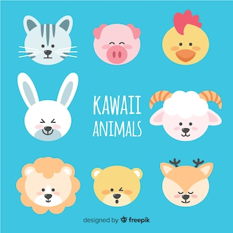 Kawaii animals hand drawn collection