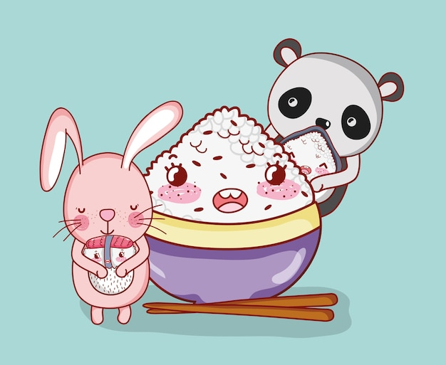 Kawaii animals and japanese food