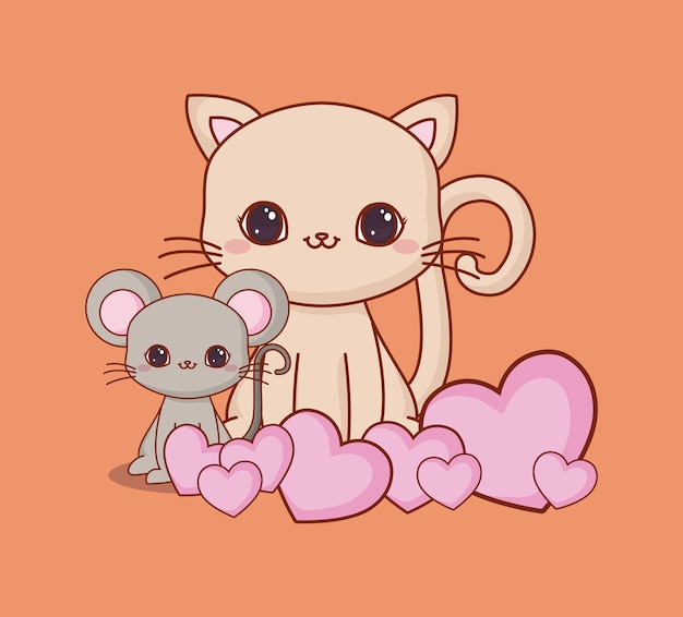 Kawaii animals and love
