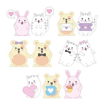 かわいい動物のマウスキティの猫とウサギの漫画