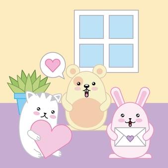 かわいい動物のマウスのウサギと猫の漫画