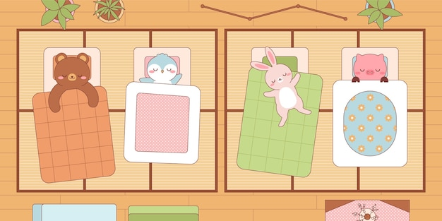 Animali kawaii che dormono in futon