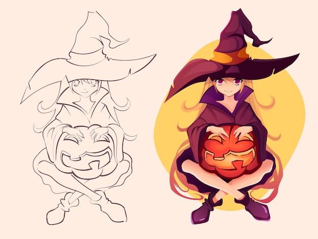 カワイイアニメの女の子の魔女のイラスト Premiumベクター