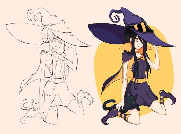 カワイイアニメの女の子の魔女のイラスト