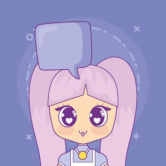 Kawaii anime girl with speech bubble
