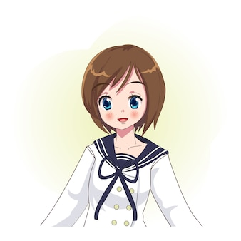 Kawaii anime manga girl wearing sailor student uniform, school girl, japan anime girl, avatar, illustration