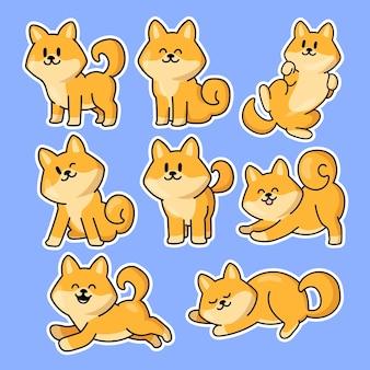귀여운 애니메이션 강아지 스티커 세트