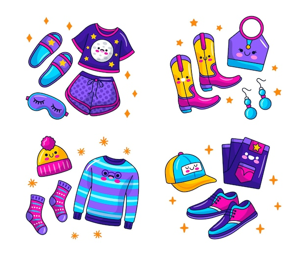 Kawaii appareal and accesories stickers