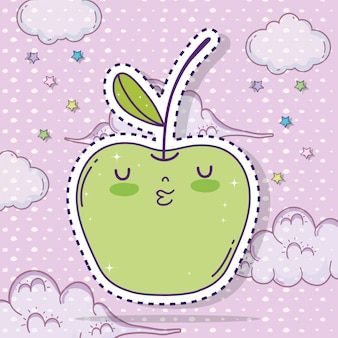 Kawaii apple fruit sticker with clouds