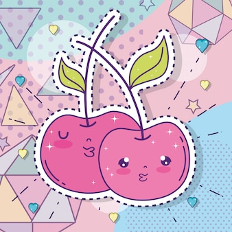 Kawaii apples clouple sticker with hearts and stars