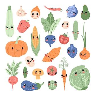 カワイイ赤ちゃん野菜セット、面白い漫画のビタミン植物ステッカーコレクション。笑顔のかわいい食べ物のキャラクターのコンセプトサツマイモ、トマト、カボチャ、アボカド、モダンなフラットスタイルのコーンパステルカラーのクリップアート