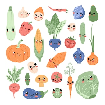 Kawaii baby vegetables set, funny cartoon vitamin plant sticker collection. smiling cute food characters concept sweet potato, tomato, pumpkin, avocado, corn pastel colors clipart in modern flat style