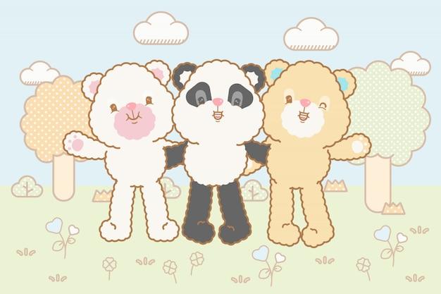 Kawaii baby медведи установлены