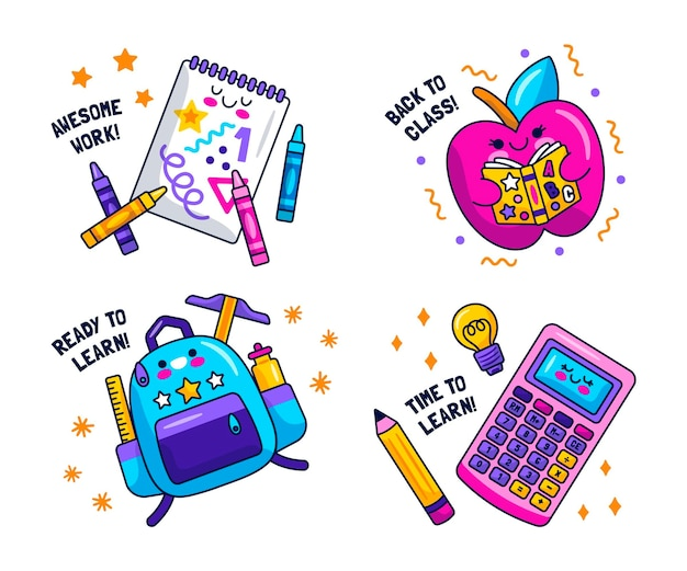 Kawaii back to school stickers collection