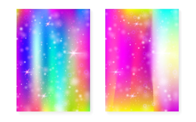 Kawaii background with rainbow princess gradient. magic unicorn hologram. holographic fairy set. spectrum fantasy cover. kawaii background with sparkles and stars for cute girl party invitation.