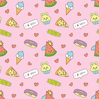 Kawaii background with various cute icon