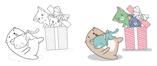 ギフトボックスの漫画のカワイイクマと猫は子供のためのページを簡単に着色します