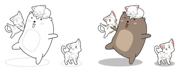 Kawaii bear and cats cartoon coloring page