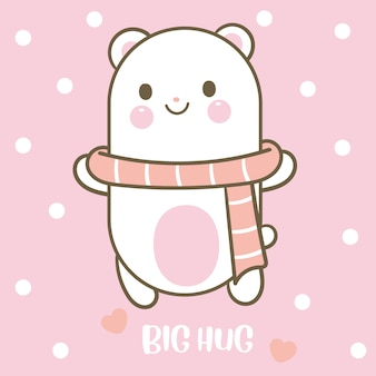 Kawaii bear character hand drawn