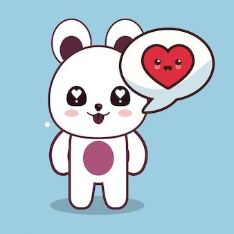 Kawaii bear character talk love