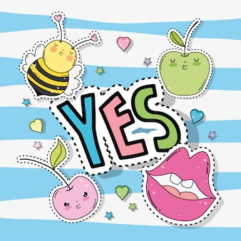 Kawaii bee with apples and mouth sticker