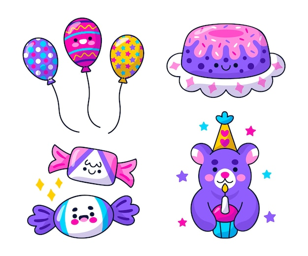 Kawaii birthday stickers pack