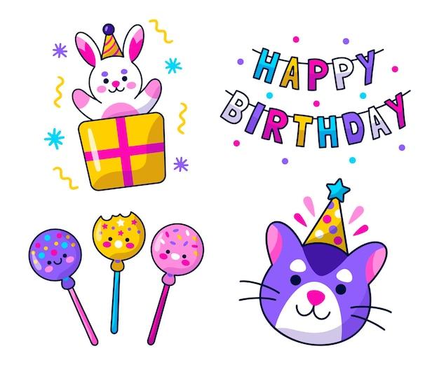 Kawaii birthday stickers set