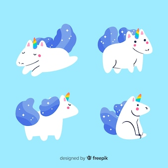 Kawaii blue unicorn character collection