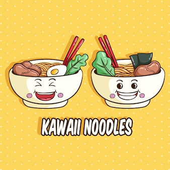 Kawaii bowl of noodles character with funny face or expression