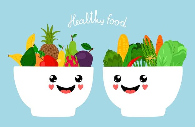 Каваи чаши с фруктами и овощами иллюстрации