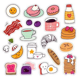 Kawaii bread cake and beverage sticker set