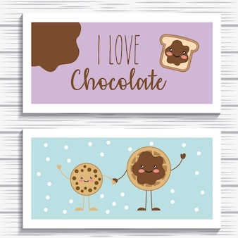 Kawaii bread and cookies cartoon cards vector illustration