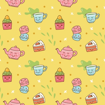 Kawaii breakfast food and drink seamless background