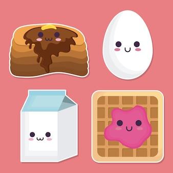 Kawaii breakfast food related icons