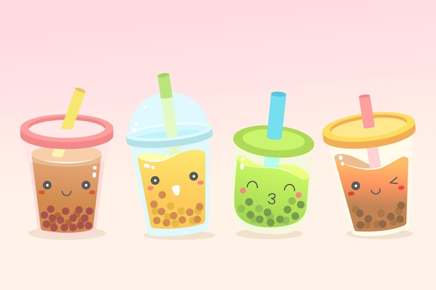 Kawaii bubble tea collection style